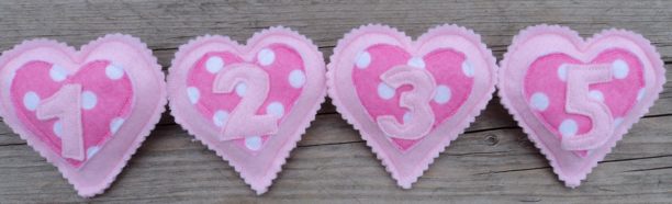 Birthday Badges - pink hearts