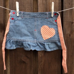 denim pinny red gingham