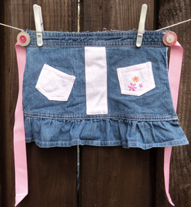 denim pinny stripe pink
