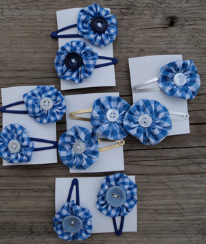 hair clasps blue gingham