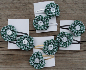hair clasp green gingham
