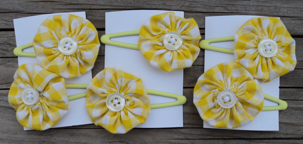 hair clasps yellow gingham