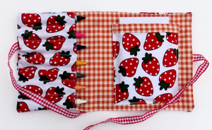 strawberry and red gingham Crayon Wrap