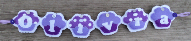 Purple Cupcake Name Banner