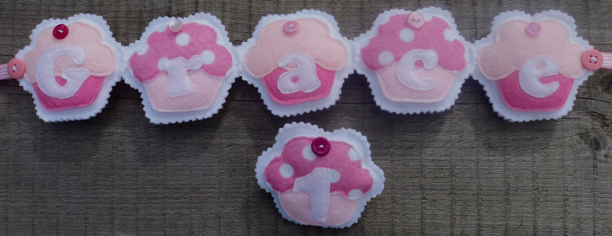 Pink Cupcake Name Banner matching Birthday Badge