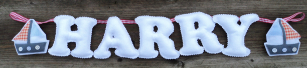 White red gingham blue stripe boat nautical Name Banner