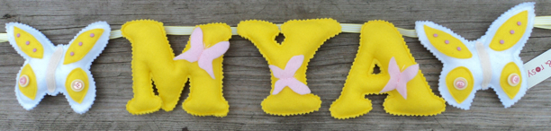 yellow pink felt butterfly Name Banner