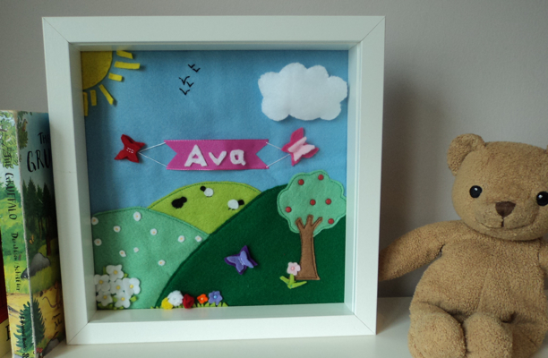 Felt Box Frame 3D picture orchard summer personalised
