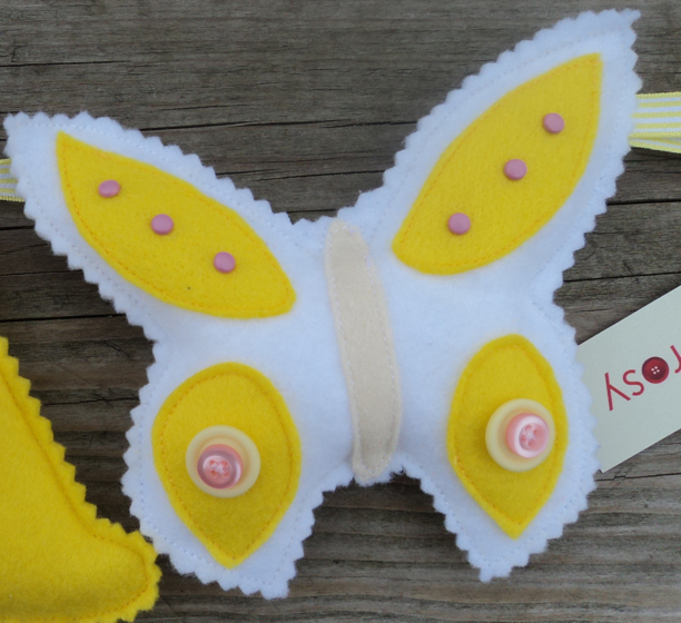 felt butterfly pink yellow