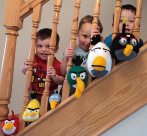 Angry Birds on the stairs with Noah, Toby & Jack
