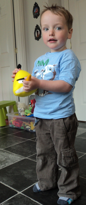 Toby with a yellow Angry Bird