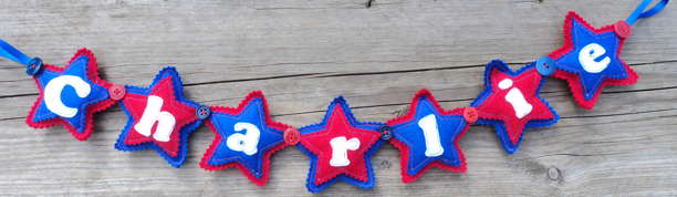 Felt Name Banner red blue white garland