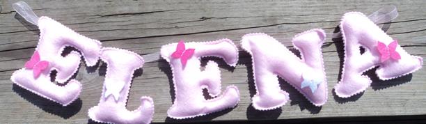 Elena butterflies pink Name Banner garland
