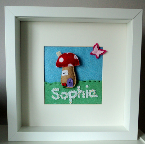 Felt Box Frame Art Sophia Personalised Toadstool Butterfly