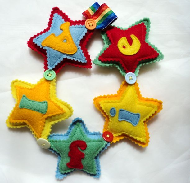 rainbow alfie star felt Name Banner