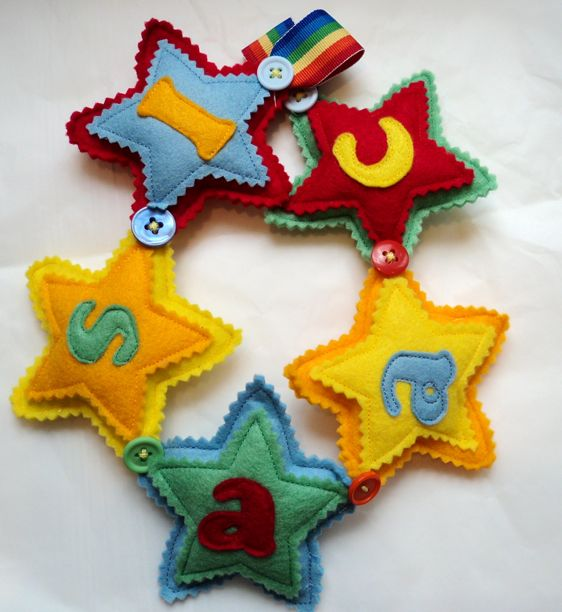 felt rainbow star Name Banner