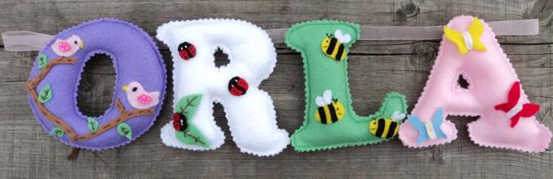 Orla Summer Name Banner bee felt ladybird leafs butterflies birds