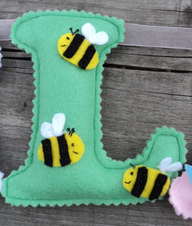 felt Name Banner green bee's L