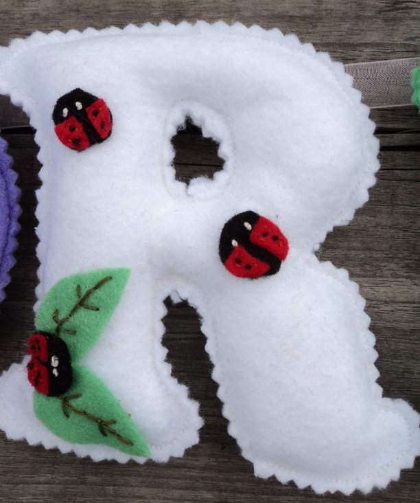 white felt Name Banner ladybirds leafs r