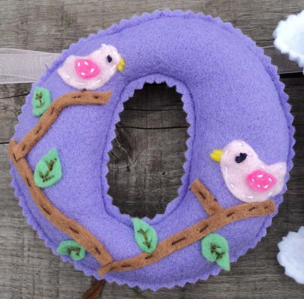 felt Name Banner lilac birds