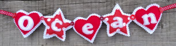 red stars hearts Name Banner - Ocean