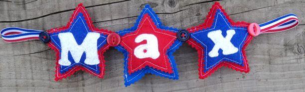 Blue red star felt Name Banner max
