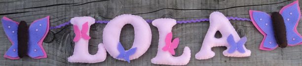 Butterfly pink Name Banner - Lola