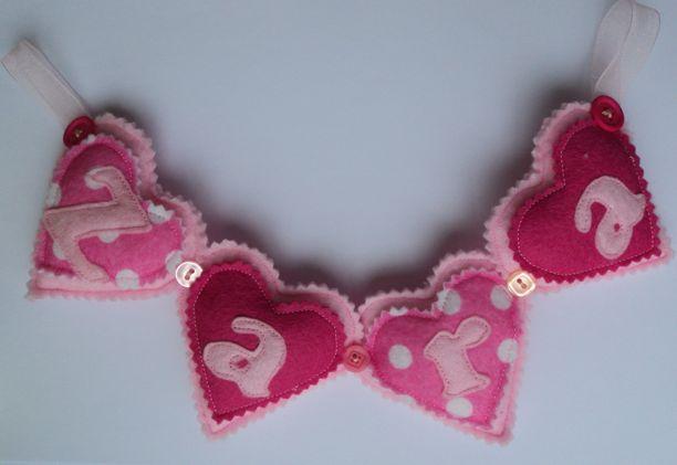 Felt hearts Zara Name Banner