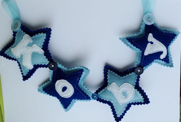 blue star felt Name Banner koby