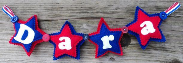 Felt Star Name Banner Blue Red White