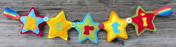 Felt Star Rainbow Banner Blue Green Orange Red Yellow