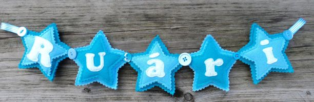 Felt Star Name Banner blue turquoise
