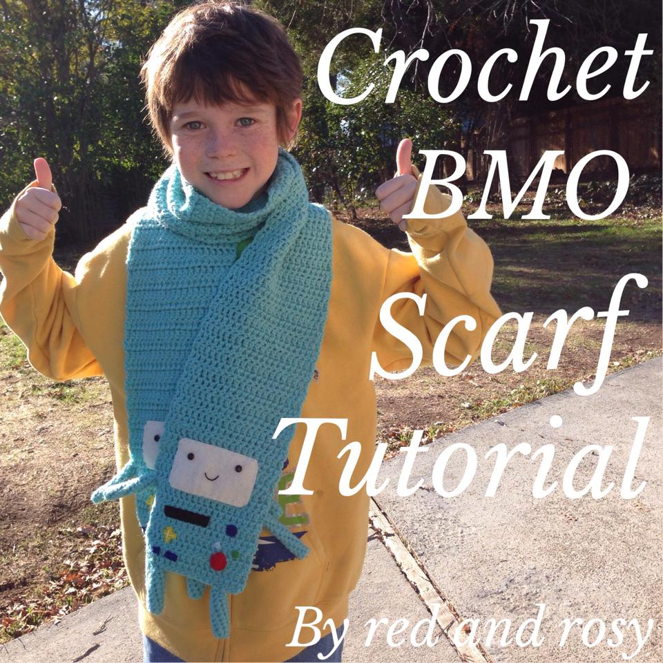 My son Jack with his crochet BMO scarf (from Adventure Time) made by Red and Rosy