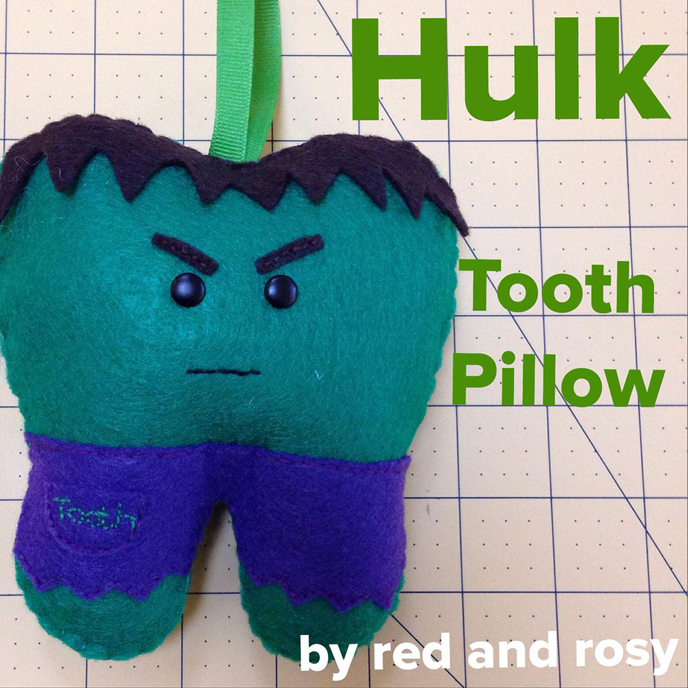 Hulk Tooth Pillow Tutorial by Red & Rosy