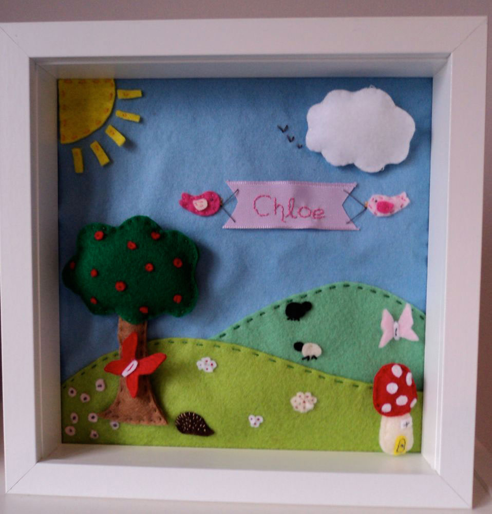 Felt Box Frame — un-mounted. (10 inch square box frame) Everything is hand cut by me and hand stitched by me, I would love to say the design is exclusively mine but my little boy Jack does like to help out with placement! Prices for these start at £20 (this one would cost £35) depending on the size of the picture and the level of detail required.