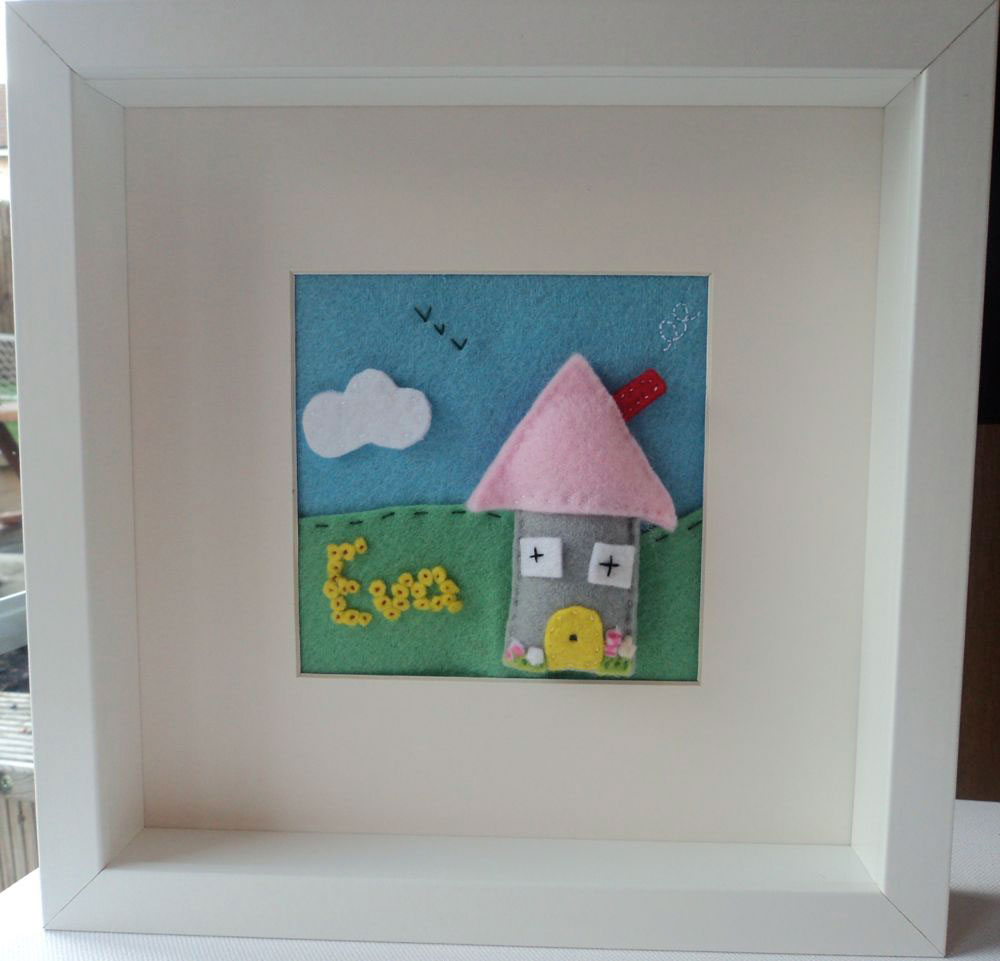 Felt box frames red and rosy felt box frame mounted hand cut felt house which is slightly padded with jeuxipadfo Image collections