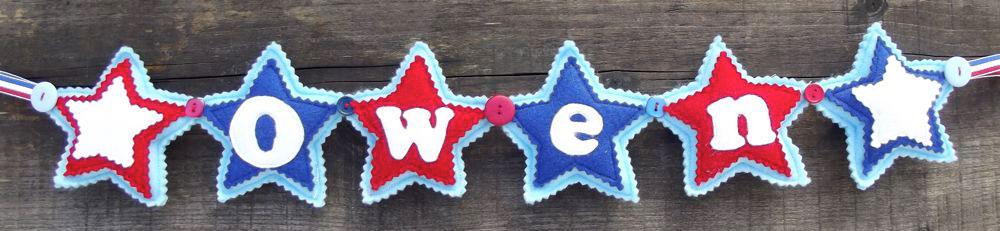 Star Name Banner in Blue, Red & White. £12 for up to four letters, each additional letter is £2. This one is priced at £16 due to the additional star at either end. Each shape is 3½ inches tall and usually the same width. These can be done in any combination of colours.
