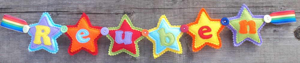 Star Name Banner in Rainbow Colours. £12 for up to four letters, each additional letter is £2. This one is priced at £16. Each shape is 3½ inches tall and usually the same width. These can be done in any combination of colours.