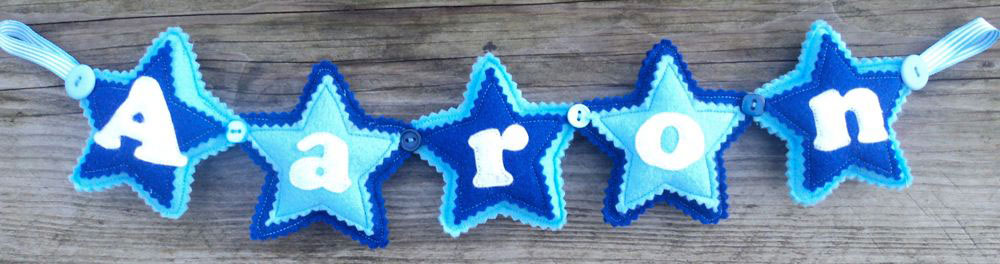 Star Name Banner in Blues. £12 for up to four letters, each additional letter is £2. This one is priced at £14. Each shape is 3½ inches tall and usually the same width. These can be done in any combination of colours.